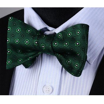 Green Floral Bowtie Silk Self Bow Tie Pocket Square