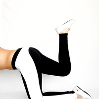 Black white Leggings white Yoga Pants color block leggings