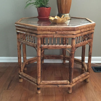 Bamboo Octogon Rattan Side Table with clear glass