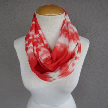 Melon and White Infinity Scarf - Dye Print Circle Scarf - Tangerine and White Chiffon Scarf