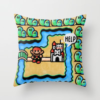 Super Mario 3 Level 1 Throw Pillow by Likelikes