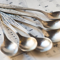 Silver plate spoons coffee spoons vintage serving retro set of 6 flatware Soviet gift small spoons silverware