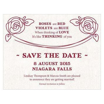 Rose Save The Date Card Plum (Pack of 1)