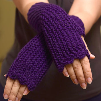 Purple fingerless mittens, womens accessories, purple texting gloves, vegan friendly, office gloves, handknit armwarmers, size XS to L