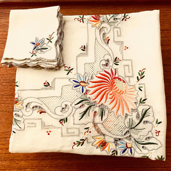 Madeira Bridge Tablecloth & Napkins, Colorful Raised Floral Embroidery, Blue Orange Reds Green Spring Flowers, 1950's Vintage Table Linens