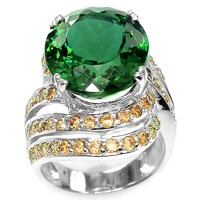 A 14K White Gold Natural 10.5CT Oval Cut Green Amethyst Yellow Sapphire Ring