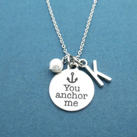 You anchor me, Personalized, Letter, Pearl, Initial, Anchor, Necklace, Gift, Simple, Christmas, Realationship, Friendship, Best Friend