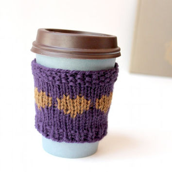 Purple Cup Sleeve, Mothers Day Gift, Knitted Cup Cozy, Wool Coffee Cozy, Cup Cuff Hearts, Coffee Sleeve Gift, Gift For Mom, Purple Gift