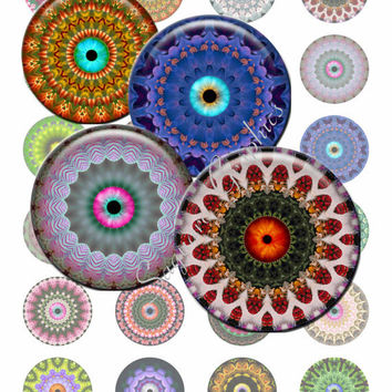 MANDALA CRAZY EYES - 1.5 inch - Digital Collage Sheet for Pendants, Bottle Caps, Stickers, Arts and Crafts, Printable Art