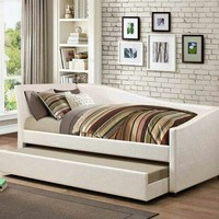 2 pc Palacial collection ivory leatherette tufted back day bed with trundle