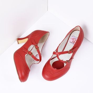 Red Faux Leather Detailed Heel