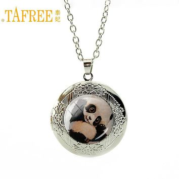 TAFREE 2017 Animal Necklace Mom's Love Family affection cute panda elephant locket Pendant for women men fashion jewelry A317