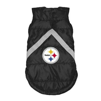 PEAPYW9 Pittsburgh Steelers Pet Puffer Vest