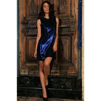 Navy Blue Metallic Sleeveless Evening Party Shift Mini Dress - Women