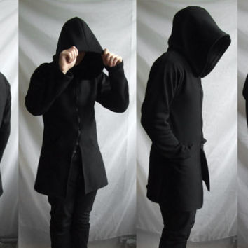 Demon Hoodie (mens coat or suit like hoodie  with large hood and inside pockets )