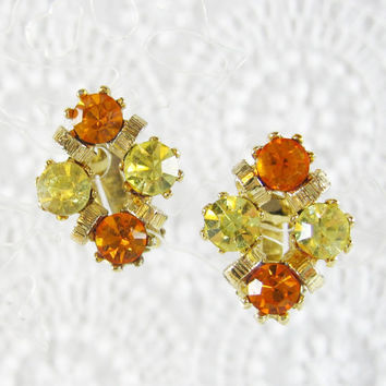 Vintage Rhinestone Earrings, Jonquil Yellow, Orange Citrine, Crystals, Geometric Diamond, Gold Clip-ons, 1950s 1960s Mad Men Jewelry