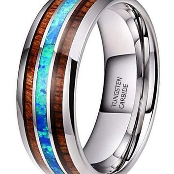 CERTIFIED 8mm Tungsten Carbide Ring Real Blue Opal Rare Koa Wood Inlay Band