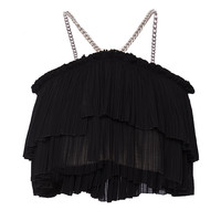 Fluid Black Ruffle Top | Moda Operandi