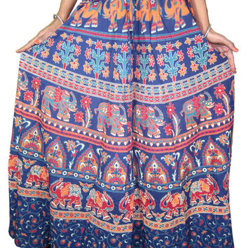 Maxi Skirt- Blue Cotton Printed Womens Summer Long Skirts Indian Clothing