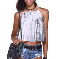 Fashionable Cross Braces Tie-Dye Crop Top