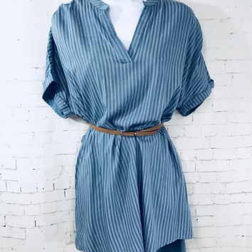 Short Sleeve Striped Dress with Belt