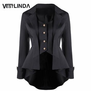 VESTLINDA Women Vintage 1920s Gothic High Low Coats 2017 Autumn Swallow-Tailed Button Up Slim Outwear Female Trench RetroTops