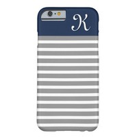 Grey and Navy Striped Pattern Monogram
