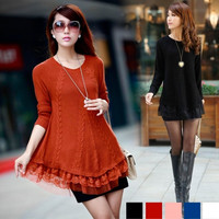 Women Lace Knitted Sweater Jumper Long Sleeve Crew Neck Pullover Outwear Tops  F_F = 1902340868