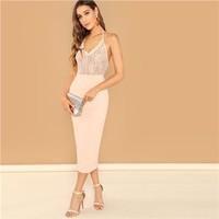 Pink Lace Pencil Dress Backless