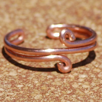 Copper Toe Ring Double Loop Handcrafted Adjustable