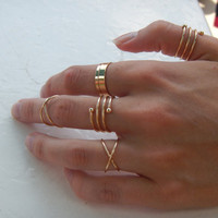 Gold Rings, Minimal Stackable Midi Ring Set, Crisscross ring set, midi ring gold rings for women