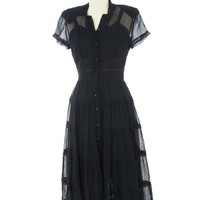 40s Lace Trim Tiered Sheer Black Dress-40s Vintage Dresses