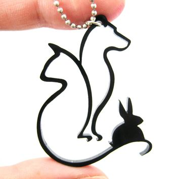 Kitty Cat, Dog and Bunny Outline Shaped Pet Animal Themed Necklace in Black Acrylic