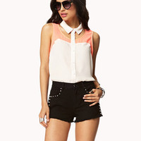 Colorblocked Cutout Shirt | FOREVER 21 - 2035483096