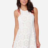 Save the Day Neon Coral and Ivory Lace Dress