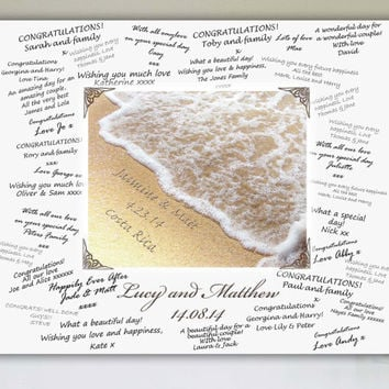 Wedding Signature Board, Wedding Signing Board, Wedding Guest Book Alternative, Beach Wedding, Personalized Signature Board, Guestbook Cover
