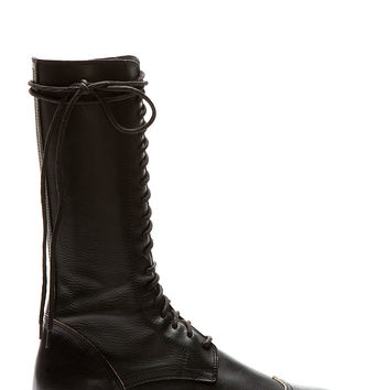 Ann Demeulemeester Black Leather Wingtip Boots