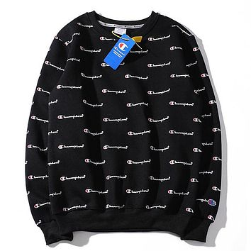 Champion Autumn And Winter New Fashion More Letter Print Couple Long Sleeve Top Sweater Black