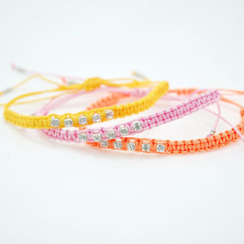 Choose Your Color..Yellow Pink Neon Orange Colorful Crystal Strass Macrame Braided Friendship Bracelet
