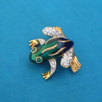 Enamel Rhinestone Frog Pin, Vintage Attwood and Sawyer A&S Brooch Pin, 1980s,