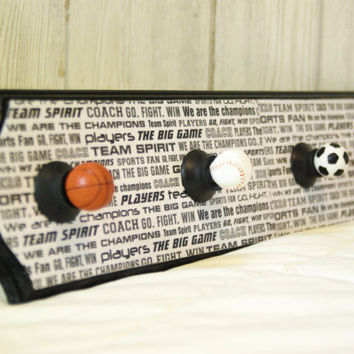 Boy's Room Decor, Sports Hat Rack, Coat Rack, Basketball, Baseball, Soccer, All Star, Black and White