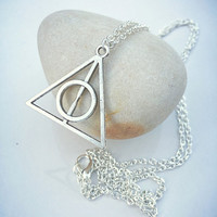 Deathly hallows Silver Alchemy symbol necklace