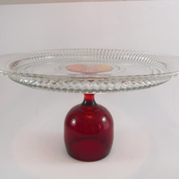 Crystal Footed Cake Stand Upcycled Ruby and Clear Festive Holdiay Vintage OOAK