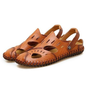 Large Size Men Water Leather Sandals