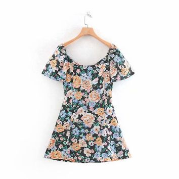 Autumn French bellflower flower dress