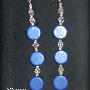 "Earrings : Lapiz Lazuli, Swarovski Crystal &.925 Sterling ""Peaceful Seas"" A'Nena Jewelry"