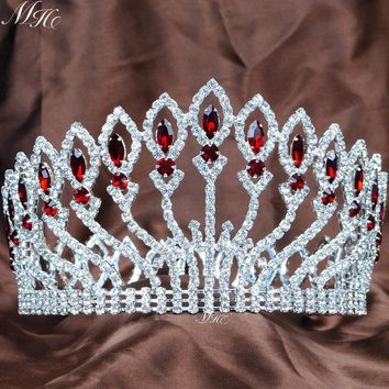 Awesome Weddding Bridal Crown Full Round Tiara Handmade Red Rhinestones Crystal Prom Pageant Party Costumes Diamante Headpiece