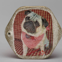 Decoupage wooden pocket mirror Pug cute design accessory unusual handmade gift