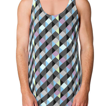 Plaid Pattern AOP Loose Tank Top Single Side All Over Print
