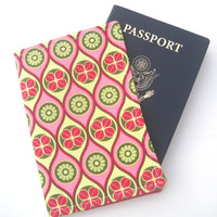 Cute Fabric Passport Cover Case, Coupon Holder - Hot Pink Lime Green Circles, Mod Pattern